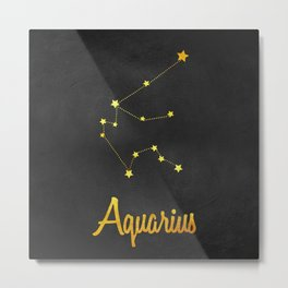 Aquarius Constellation Gold Metal Print
