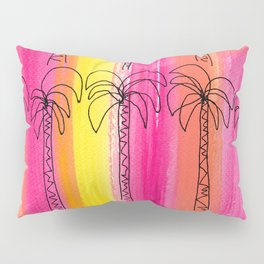 Palm trees pattern Pink summer beach illustration Pillow Sham
