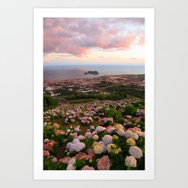 Azorean town at sunset Art Print