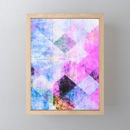 Pink/Blue Geometric Grungy Diamond Pattern Framed Mini Art Print