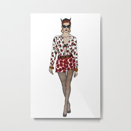 Moschino fashion illustration roses  Metal Print