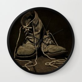 Old Brown Shoes Wall Clock