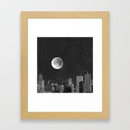 Blood Moon Over Denver Colorado in Black and White Framed Art Print