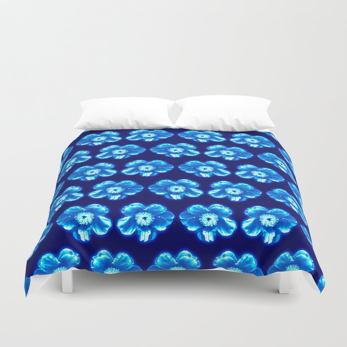 Blue Flower Y Pattern Duvet Cover