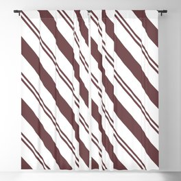 Pantone Red Pear and White Stripes Angled Lines Blackout Curtain