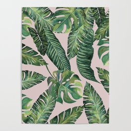 Jungle Leaves, Banana, Monstera Pink #society6 Poster