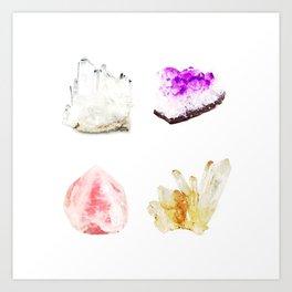 crystals watercolor Art Print