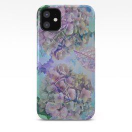 Watercolor hydrangeas and leaves iPhone Case