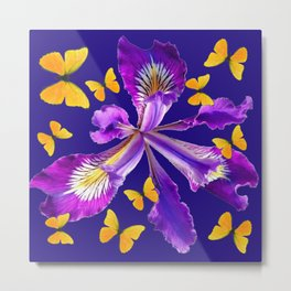 YELLOW BUTTERFLIES AMETHYST  PURPLE DUTCH IRIS FLOWER Metal Print