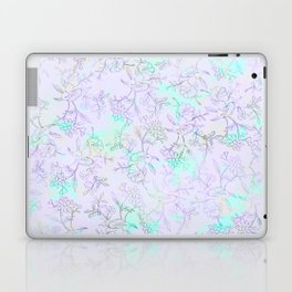 Modern lavender turquoise hand drawn watercolor botanical floral Laptop & iPad Skin