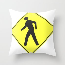 """""""pedestrian ahead"""" - 3d illustration of yellow roadsign isolated on white background Throw Pillow"""