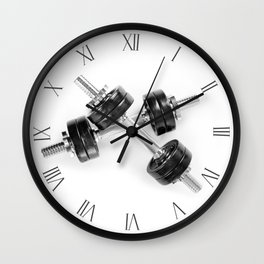 Crossed two heavy hand barbells Wall Clock