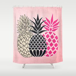 Pineapple in Pink , tropical , hawaii , summer , fruit , pineapple print , pineapple design Shower Curtain