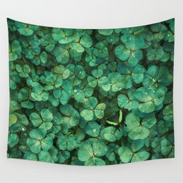 Lucky Green Clovers, St Patricks Day pattern Wall Tapestry