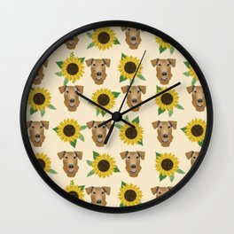 Airedale Terrier Sunflower floral print cute dogs and flowers design Wall Clock