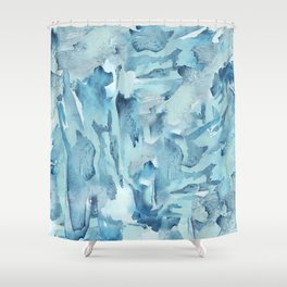 Blue Watercolor Fracture Abstraction Shower Curtain