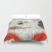 westie Duvet Covers featuring Dog Westie Terrier Original painting Deb Harvey Art Rose by Deb Harvey