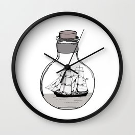 The ship in the glass bulb . Home decor; apparel; wall art Wall Clock