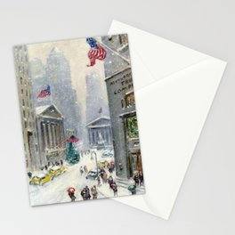 Broad Street to Wall Street, New York City landscape painting by Guy Carleton Wiggins Stationery Cards