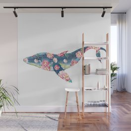 Floral Humpback Blue Whale Floral Fantasy Watercolor Painting Wall Mural