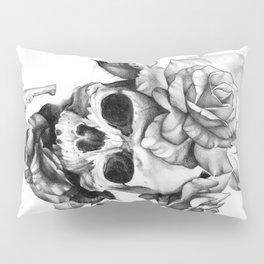 Black and white Skull and Roses Pillow Sham