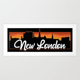 Vintage New London Connecticut Sunset Skyline T-Shirt Art Print