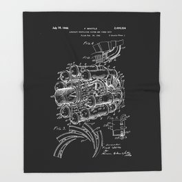 Jet Engine: Frank Whittle Turbojet Engine Patent - White on Black Throw Blanket