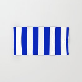 Cobalt Blue and White Wide Circus Tent Stripe Hand & Bath Towel