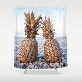 Gold Pineapples Shower Curtain
