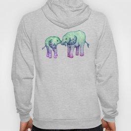 Baby Elephant Love - ombre mint & purple Hoody