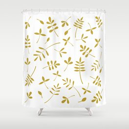 Gold Leaves Design on White Shower Curtain