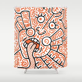 """The Face"" - inspired by Keith Haring v. orange Shower Curtain"