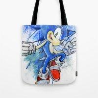 sonic Tote Bags featuring Sonic by Luke Jonathon Fielding
