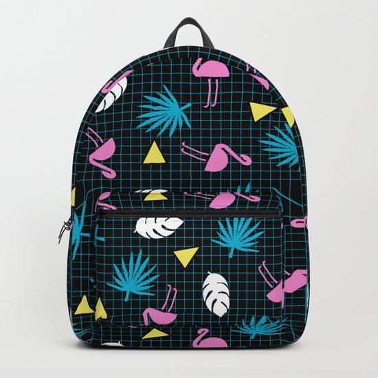 Sketchy - memphis wacka design throwback neon 1980s 80s style retro pattern grid flamingo tropical  Backpack