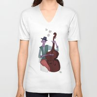 cello V-neck T-shirts featuring Smooth Cello by Erin Eng