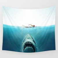 jaws Wall Tapestries featuring JAWS by Smart Friend