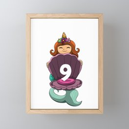 9th Birthday Mermaid Unicorn 9 Nine Yr Old Girl Framed Mini Art Print