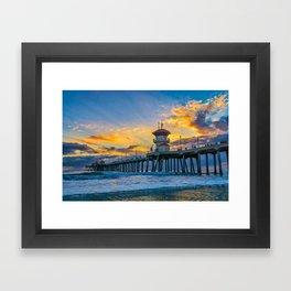 Colors Over Huntington Pier at Sunset Framed Art Print