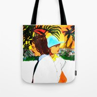 hollywood Tote Bags featuring Hollywood by Ecsentrik