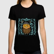 Brave Viking Owl X-LARGE Black Womens Fitted Tee