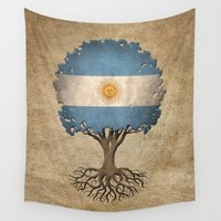 argentina Wall Tapestries featuring Vintage Tree of Life with Flag of Argentina by Jeff Bartels