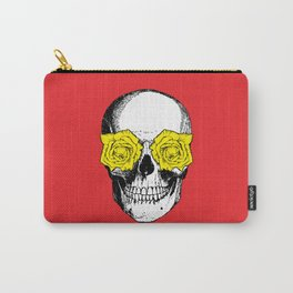 Skull and Roses | Red and Yellow Carry-All Pouch