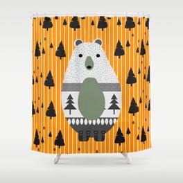 cute bear stripes and a fir forest shower curtain
