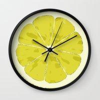 lemon Wall Clocks featuring Lemon by Avigur