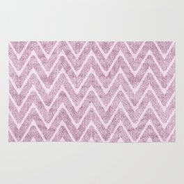 Pastel Dusty Mauve Zigzag Terrycloth Look-a-Like Rug