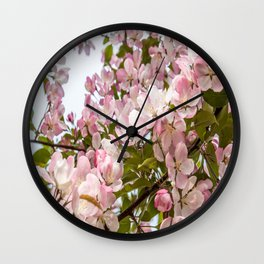 Pink Spring Blooms Wall Clock