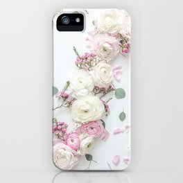SPRING FLOWERS WHITE & PINK iPhone Case