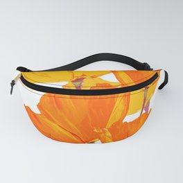 Orange and Yellow Poppies On A White Background #decor #society6 #buyart Fanny Pack
