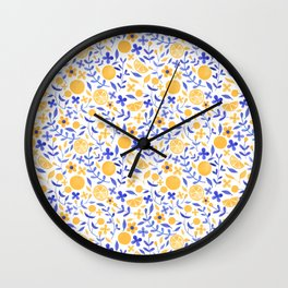 Orange and Flowers - Yellow and Blue Wall Clock
