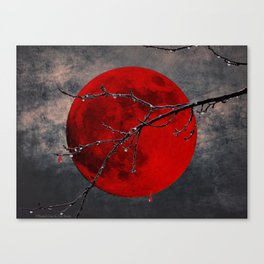 Modern Blood Red Moon Rain Gothic Decor A175 Canvas Print